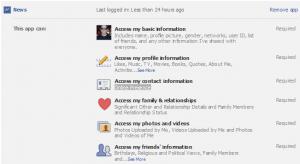 Facebook application settings